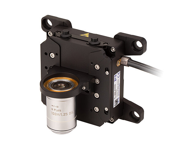 V-308 with V-308.AP1 adapter plate, V-308.OH1 objective holder, P-725.11L thread adapter, and objective