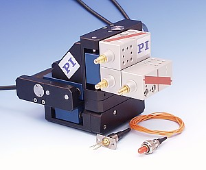 Fiber Alignment System consisting of XYZ  M-110.3DG XYZ Positioning System  and optional XYZ Piezo-NanoPositioning System