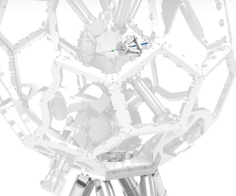The miniature hexapod inside the vacuum chamber is necessary to position the x-ray lens in the chamber so that it always remains at the same place with respect to the incident x-ray beam (Image: PI)