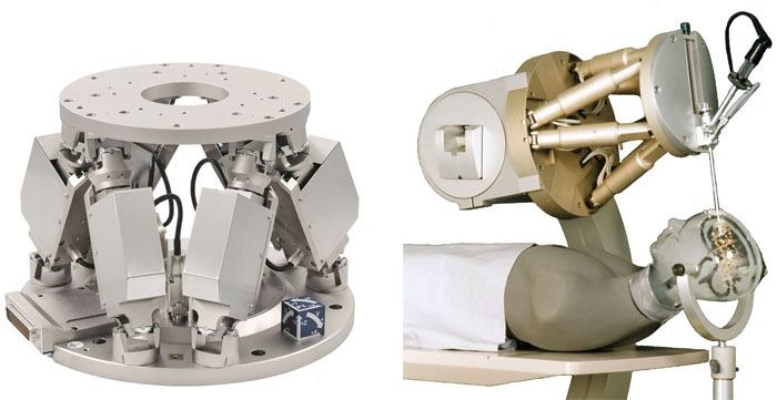 H-824 compact 6-axis positioner (left). Hexapods can also be used as surgery robots. (Image: PI/Fraunhofer IPA)