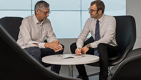 Concentrated piezo tech know-how: PI's Dr. Harry Marth Head of Piezo Technology Innovation (left), and Dr. Mathias Bach, Head of Piezo Systems (right)