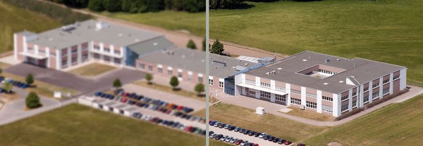 Aerial view of a building. Left: image blur is caused by vibrations. Right: sharp with active image stabilization.
