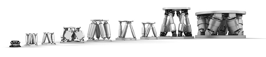 PI's versatile commercially available 6-axis hexapods range from 50mm base to >1m, with loads from 500g to 5000 kg for ambient and vacuum environments. (Image: PI)