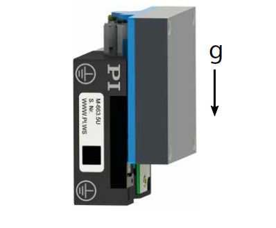 Figure 8 M-663.5U linear stage, mounted in vertical orientation of the motion axis. The load on the stage was varied from 0.5 N to 2 N (Image: PI)