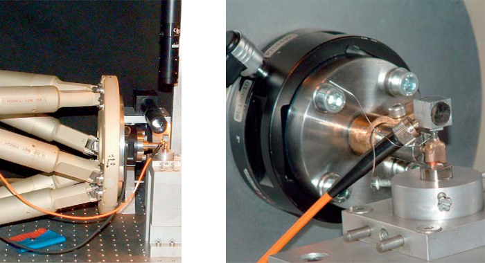 Load testing of a double crown with the high-stiffness hexapod 6-axis motion system (Image: University of Bonn)