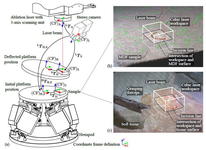 "Hexapod in experimental setup to test tracking accuracy. From ""Stereo Vision-Based Tracking of Soft Tissue Motion with Application to Online Ablation Control in Laser Microsurgery"" A Schoob et Al, Leibniz Universität Hannover, Institute of Mechatronic Systems, Hanover Germany."