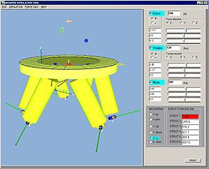 PI Hexapods come with ample software support, including a simulation tool to verify workspace and loads on individual struts dependent on mounting orientation.