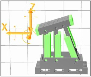Graphical representation of a tripod positioner and its work space.