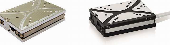 "The Q-545 linear positioning stage is based on the mini-rod drive principle. Vacuum version shown left, standard version shown right, 1"" travel range. Encoder resolution to 1nm is available. (Image: PI)"